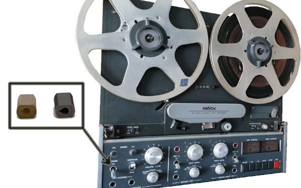 Magnetofón profesional REVOX B77 Este equipo graba y reproduce sonidos por medio de una cinta magnética. No voy a entrar mucho en el funcionamiento en sí del propio equipo, pero destacare el hecho de que este en particular se vendió entre el 1982 y 1985. Obviamente es un equipo antiguo para coleccionistas y como cualquier articulo con mas de 35 años, cualquier repuesto es excesivamente difícil de conseguir o demasiado caro. En estas ocasiones seguimos promoviendo el uso de la impresión 3D para solucionar este tipo de problemas, más aún ahora con la cantidad de aparatos que ya sea por su uso, la edad o la obsolescencia, quedan guardados en un desván por que no se pueden usar o tiene algunas partes estéticas demasiado deterioradas.  Por eso, desde Fabricando3D os animamos a que nos consultéis sin ningún compromiso para ayudaros a dar una segunda vida a esos aparatos.